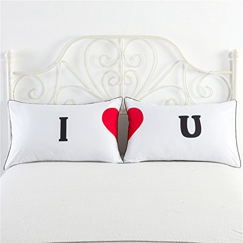 Cozzy Couples Pillow Cases I LOVE U Print Romantic Gift for Wedding Anniversary Birthday Valentines Set of 2 Standard or Queen Size 29