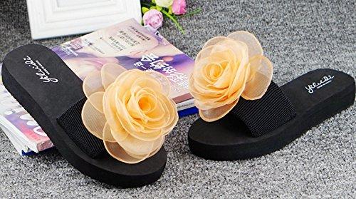 Bettyhome Vrouwen Lady Girls Sexy Satijnen Bloemen Rose Thongs Comfortabele Casual Wiggen Sandalen Strand Slippers Slippers Oranje