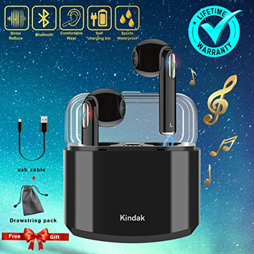 Wireless Earbuds Earphones, Bluetooth Earbuds Headphones in-Ear Noise Cancelling Earbuds Earpiece with Mic Charging Case Earbuds, Sport Running Mini Stereo Bass Earbuds for iOS Android by Kindak