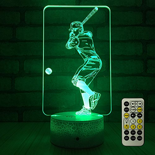 FlyonSea Baseball lamp,Bedside Lamp 7 Colors Change + Remote Control with Timer Kids Night Light Optical Illusion Lamps for Kids Lamp As Gift Ideas for Boys or Kids]()
