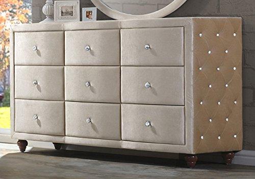 Meridian Furniture Diamond Velvet Covered Dresser from Meridian Furniture