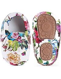 Infant Baby Girls' Shoes, Soft Sole Anti-Slip Tassels Mocassins Crib Shoes Prewalker Toddler Rose Print Flower Shoes for 0-18 Months Babies