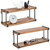 MyGift Urban Rustic Wooden Wall-Mounted 2-Tier Floating Shelves with Black Metal Brackets, Set of 2