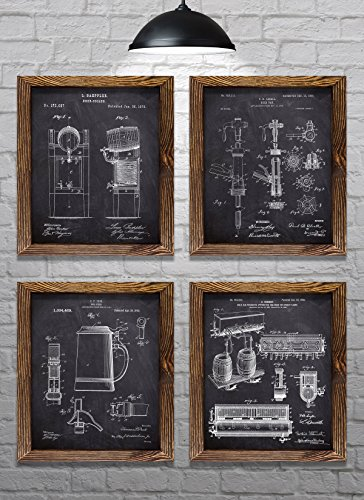 """Gifts for Beer Lovers! - Vintage Beer Themed Patents - Set of Four - 8x10"""" Prints - Great gift for Beer Brewers! (set#1)"""