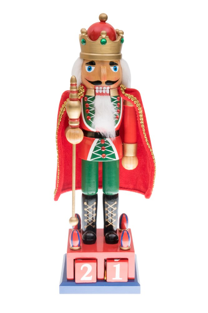 Traditional King Nutcracker by Clever Creations | Collectible Wooden Christmas Nutcracker | Festive Holiday Décor | Advent Calendar Stand | Red and Green | Holding Gold Scepter | 100% Wood | 15'' Tall