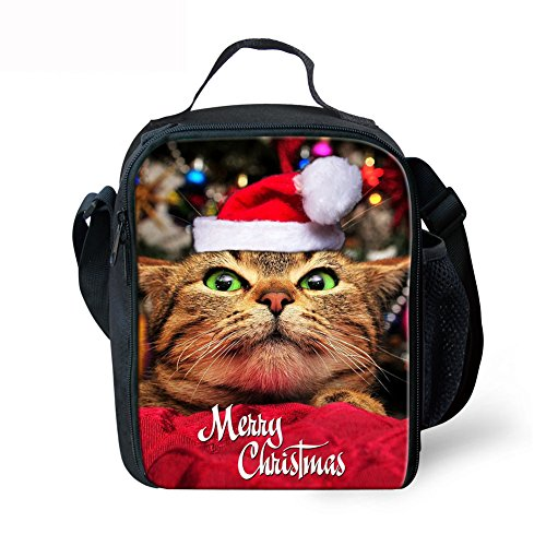 Showcool 3D Printed Merry Christmas cat Zipper Lunch Bag Polyester Mini Cooler Meal Bag Cool Insulated Lunch Box for Boys Girls Kids Children - Mini Bag Golf Cooler
