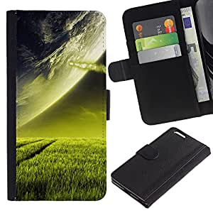 Ihec-Tech / Flip PU Cuero Cover Case para Apple Iphone 6 PLUS 5.5 - Beautiful Planet Landscape Grass