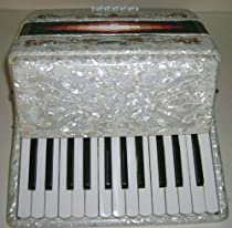 Rossetti Piano Accordion 12 Bass 25 Key, with Case, WHITE