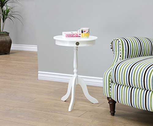 Frenchi Home Furnishing Tea/Side Occasional Table, White (Table Side Antique)