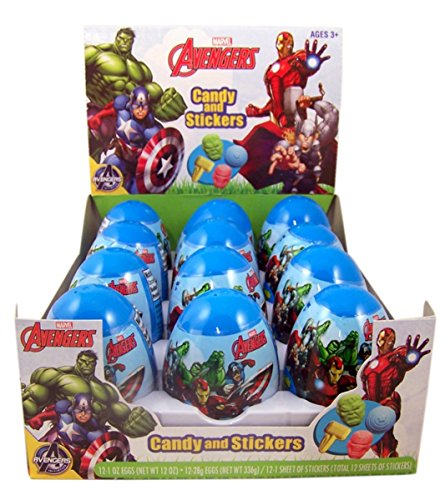 Avengers Easter Eggs with Candy and Stickers, Pack of 12 ()