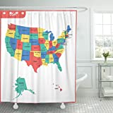 Breezat Shower Curtain Alaska the Detailed Map of Usa with Regions States and Cities Capital United America Hawaii Waterproof Polyester Fabric 60 x 72 Inches Set with Hooks