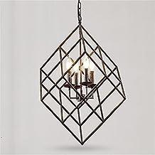 E14 Industrial Individuality Retro Iron Rubik'S Cube 4 Heads Candle Chandeliers Living Room Restaurant Bar Ceiling Light Shop Home Decor Pendant Lamp,50*54cm