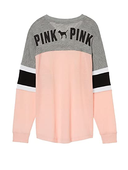 Victoria s Secret Pink Lace Up Colorblock Varsity Crew Pullover Pink Gray  (Large) 1c9f73cc6a