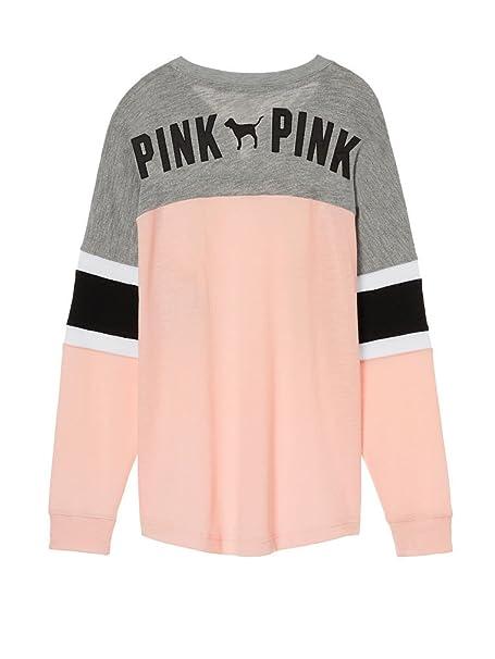 Victoria\u0027s Secret Pink Lace Up Colorblock Varsity Crew