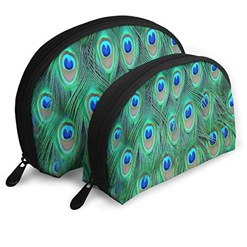 Makeup Bag Peacock Feathers Green Handy Half Moon Cosmetic Bags Storage For Women - Green Kichler