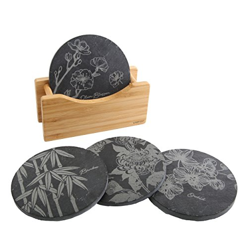 Vastigo Circle Shaped Slate Coasters in Bamboo Holder w/ Flower Designs of Bamboo, Chrysanthemum, Plum Blossom, and Orchid | Original Laser Etched Designs | Helps Protect Table ()