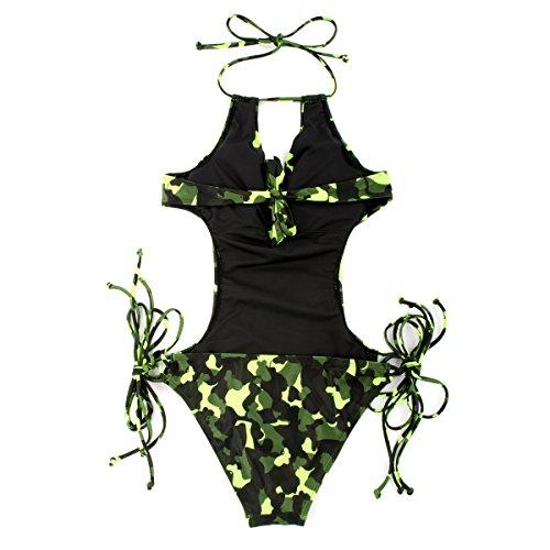 donna con costume laccetti intero Camouflage RELLECIGA PF4apw