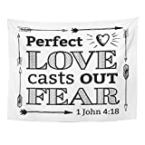 Emvency Tapestry Mandala 60''x80'' Home Decor Perfect Love Casts Out Fear Christian Bible Scripture With Arrow Border And Heart Tapestries Bedroom Living Room Dorm