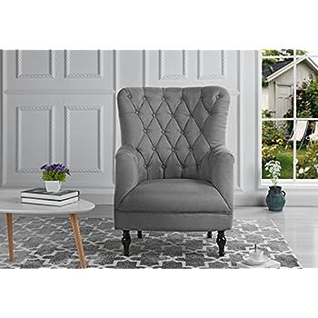 Plush Classic Tufted Linen Fabric Armchair   Living Room Chair (Light Grey)