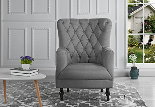 Plush Classic Tufted Linen Fabric Armchair - Living Room Chair (Light Grey)