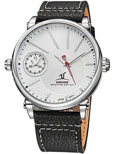 Alienwork Sports Quarz Armbanduhr Multi Zeitzonen Quarzuhr Uhr XXL Oversized sport weiss schwarz Leder OS.UV1508-2