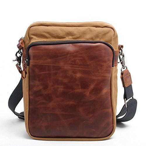 Bolsos Canvas Leather Wallet Amarillo de Bolsos Shopping al aire Backpack Men Simple hombro bandolera Casual bandolera Male Travel Vintage libre rojo NONGNIML Street Camping Bolsos aFnXtqwxF