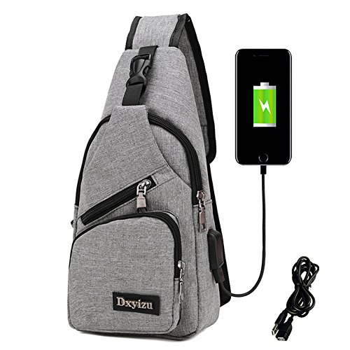 Price comparison product image RARITYUS Men and Women Sling Backpack Chest Bags Crossbody Bags Hiking Travel Backpack Daypack with USB Charging Port