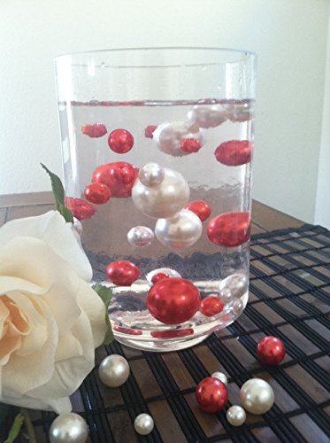 50 Red/White Vase Filler Pearls Jumbo & Mix Size No Hole Pearls For Floating Pearl Centerpieces, (Transparent Gel Beads Required To Create Floating Pearls Sold separately)