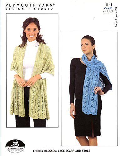 Cherry Blossom Lace Scarf & Stole -Plymouth Baby Alpaca DK Knitting Pattern 1141