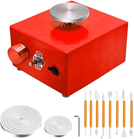 Mini Electric Pottery Wheel Machine Small Pottery Forming Machine with Tray for DIY Ceramic Work Clay Art Craft Red