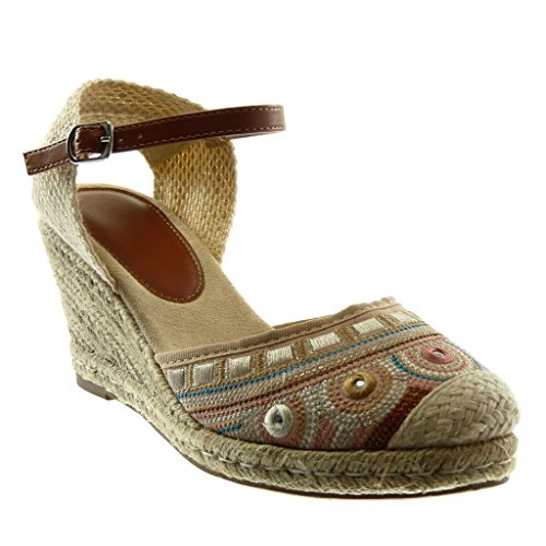 Angkorly Women's Fashion Shoes Sandals Espadrilles - Ankle Strap - Cord - Braided - Embroidered Wedge 8.5 cm Light Pink 11b5Yo6Lz