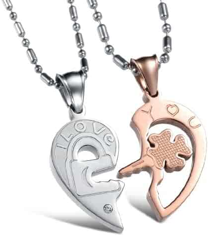 ea57b755ad His & Hers Matching Set Titanium Open Your Heart I Love You Key and Lock  Couple