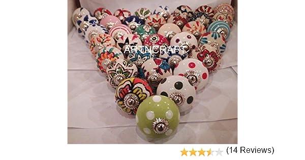 20/Petites 2,5/cm assorties tiroirs en c/éramique Multicolore boutons de porte de placard tirettes M/élange indien boutons