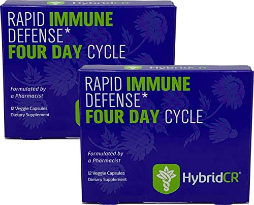 HybridCR Rapid Immune Defense by Hybrid Remedies | Pharmacist Formulated Natural Herbal Formula to Support Immune Response | Gluten-Free Natural Cold Remedy | 24 Capsules in 2 Dose Packs
