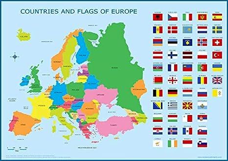 Wisdom Media Europe & Flags Map - Póster educativo para niños, diseño de mapa de la UE: Amazon.es: Hogar