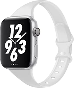 Acrbiutu Bands Compatible with Apple Watch 42mm 44mm, Slim Thin Narrow Replacement Silicone Sport Strap for iWatch SE Series 1/2/3/4/5/6, White 42mm/44mm