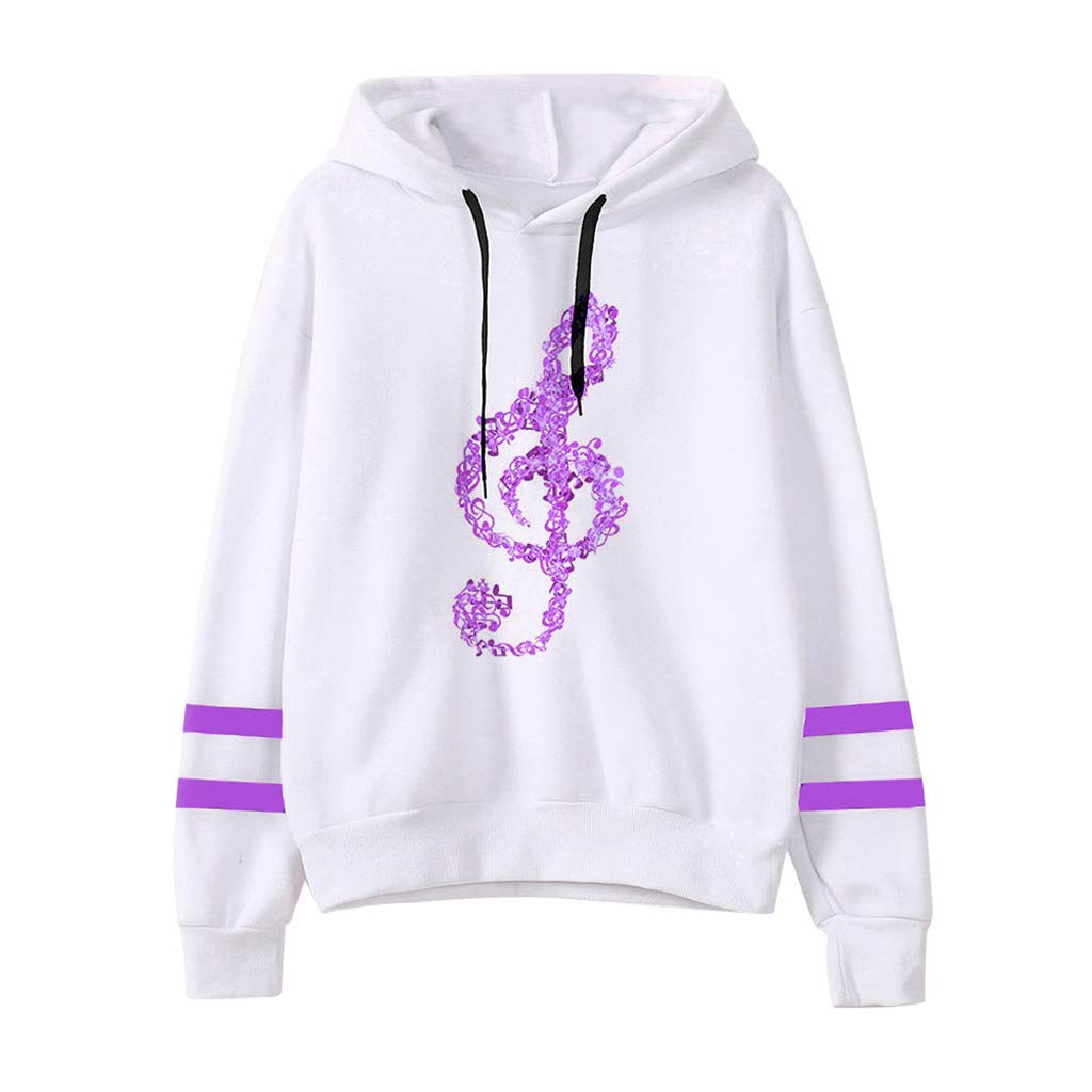 Sunhusing Ladies Musical Notes Printing Long Sleeve Drawstring Hoodie Sweatshirt Pullover Top