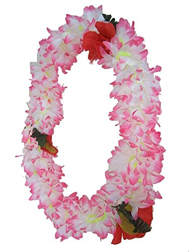 Tropical WHITE & PINK Hawaiian Lei Polynesian Faux Hybiscus Flower -