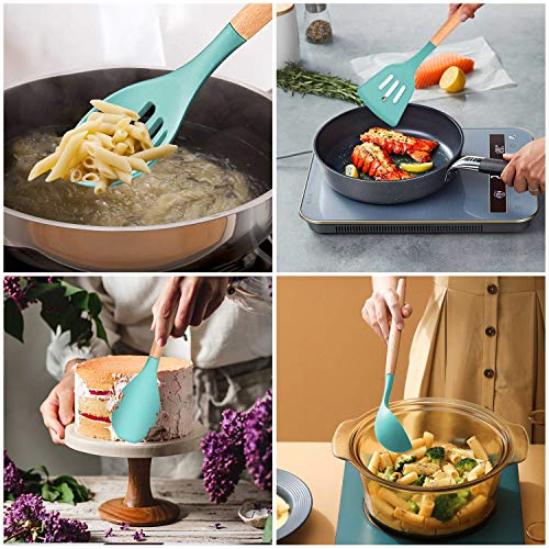 Homikit 25-Piece Kitchen Cooking Utensils Set with Holder, Silicone Spatula Spoon Ladle Turner Skimmer for Nonstick Cookware, Kitchen Tools Gadgets with Wooden Handle, Green