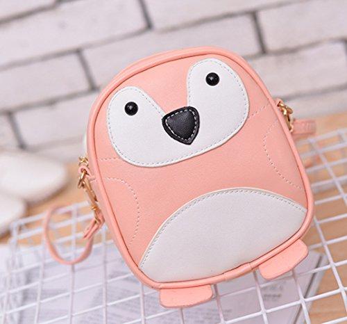 GJ Mini Bolso de Hombro Diseñado de la Forma de Pingüino para las Niñas Naranja