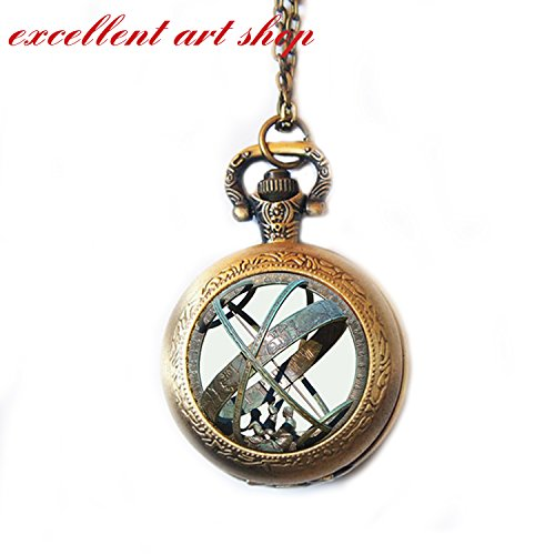ASTRONOMICAL SUNDIAL Globe Pocket Watch Necklace Jewellery Astronomy Watch Necklace Pendant Aqua Bronze Astrological Vintage Astronomy Science Pocket Watch Jewelry, Not an Actual - Dial Eggshell