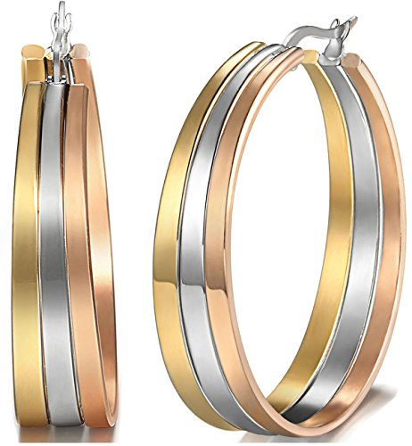 Jstyle Jewelry Stainless Steel Tri-color Big Hoop Earrings for Women (35MM (Diameter))