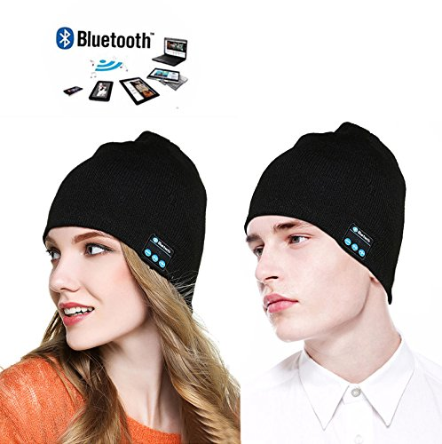 Bluetooth Beanie Hat Outdoor Sports Wireless Headset Unisex Music Hat Knit Washable Cap with Built-in Stereo Speakers and Microphone for Running Skiing Skating Hiking Fishing Black