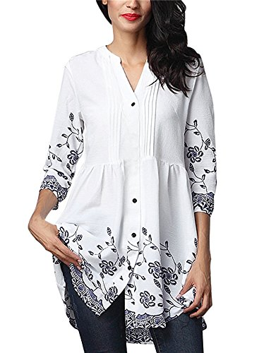 Women Floral Print 3/4 Sleeve Button Front Notch V Neck Pintuck Shirts Casual Loose Long Dressy Tunic Tops Blouse for Leggings (Ivory, M)
