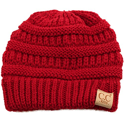 Kids Ages 2-7 Warm Chunky Thick Stretchy Knit Slouch Beanie Skull Hat Red