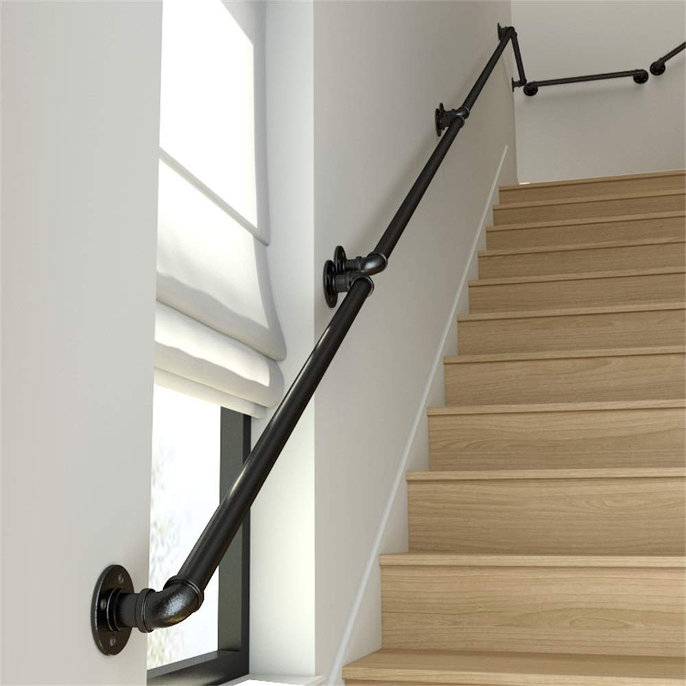 KOOU 50-400cm Black Industrial Wrought Iron Pipe Stair Handrail Handicapped Auxiliary Anti-Skid Protection Handrail Indoor and Outdoor Hospital Nursery Handrail