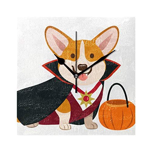 ZHRX Stylish Desk Clock Corgi Dog Wearing Vampire Halloween Costume Square Silent Non Ticking Printing Acrylic 7.8 Inch Outdoor Wall Decorations ()