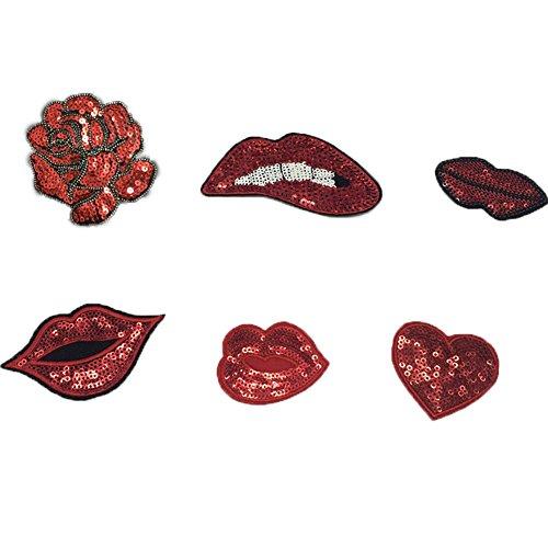 6 개 세트 의류 입을위한 패치에 수 놓은 철 입술 사랑 로즈 DIY ..