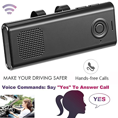 Bluetooth In-Car Speakerphone Handsfree With Mic Multipoint Bluetooth Wireless Sun Visor Car Kit with Car Charger Clip for iPhone iPad Samsung HTC LG by Teastar