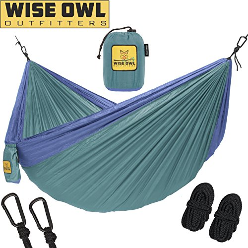 Hammock for Camping Single & Double Hammocks - Top Rated Best Quality Gear For The Outdoors Backpacking Survival or Travel - Portable Lightweight Parachute Nylon DO Green & Blue (Sale Christmas Furniture)